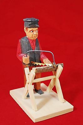 """Made In Sweden - Vintage Wood Art Carved Wood Cutter 5.5"""" Tall Figurine Figure"""