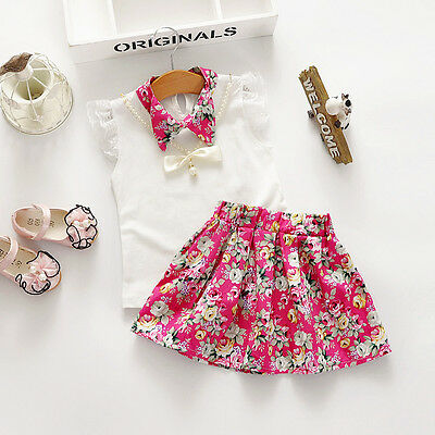 Toddler Baby Girls Clothes Set Blouse Top+Floral Skater Skirt Outfits Dress 2-7Y