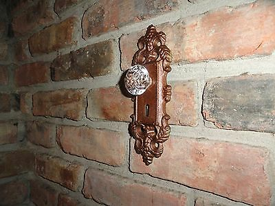 Cast Iron decorative door knob acrylic glass knob/pull bronze antique finish