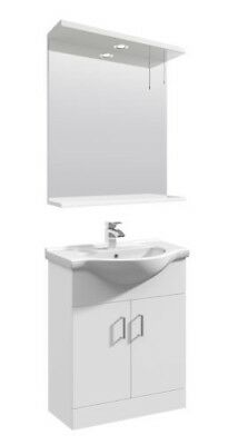 650mm High Gloss White Bathroom Vanity Basin Sink Cabinet Furniture Wall Mirror