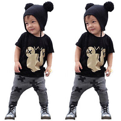 Mickey Mouse Toddler Baby Kids Boys Girls T-shirt Tops+Pants Outfits Set Clothes
