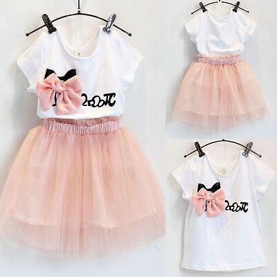 Girl Dress Short Sleeve T-shirt Tops+Tulle Tutu Skirts Outfits Set Clothes 2-7Y