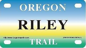 RILEY Oregon Trail - Mini License Plate - Name Tag - Bicycle Plate!