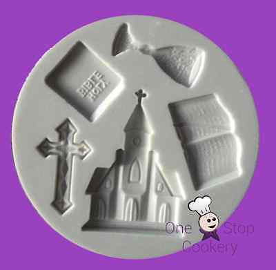Alphabet Moulds Silicone HOLY COMMUNION Mould Cross Chalice Bible Church AM0005