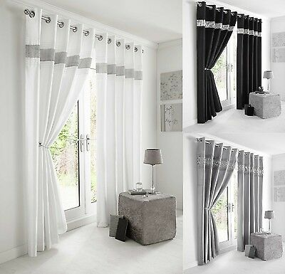 Kimberley Fully Lined Eyelet/ring Top Ready Made Modern Diamanté Band Curtains