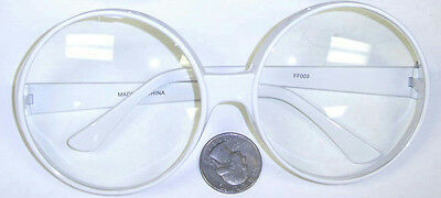 1970's Style Large Round White Frame Clear Lens Popstar Glasses