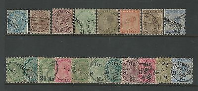 India: British little lot Earlies, only queen used stamps. IN32