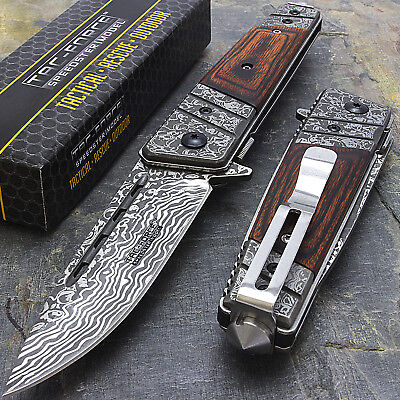 "8"" DAMASCUS STYLE WOOD SPRING ASSISTED TACTICAL FOLDING KNIFE Blade Pocket Open"