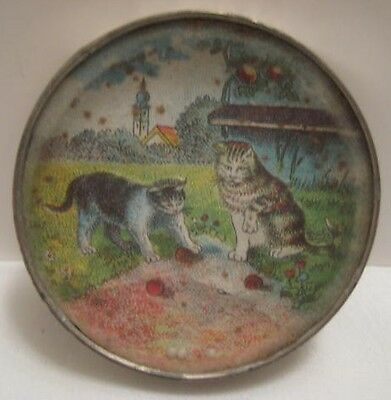 Old 1920s Tin Dexterity Puzzle - 2 Cats Playing - Nice!