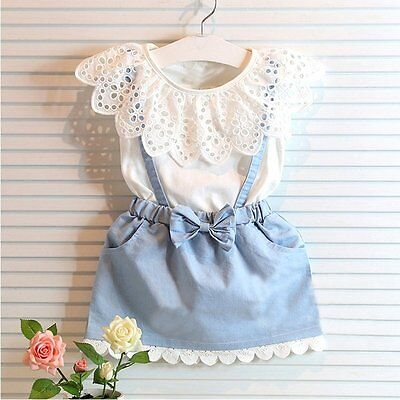 Toddler Kids Baby Girls Summer Clothes T-shirt Tops+Denim Skirt Outfits Set 1-6Y