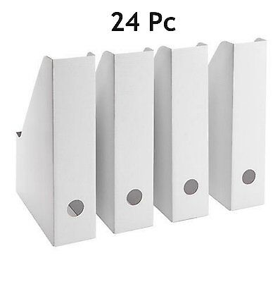 24 IKEA FLUNS Magazine File Holders Office Paper Organizer Storage White NEW