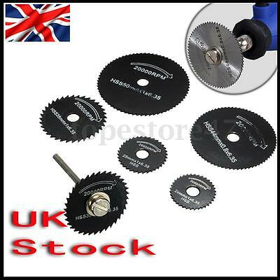 7pcs HSS Saw Blades For Metal Rotary Tool Cutting Discs Wheel + 1 Mandrel
