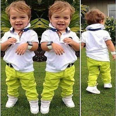 2pcs Kids Boys Summer Short Sleeve Tops Polo T-Shirt Pants Clothing Outfits 1-6Y