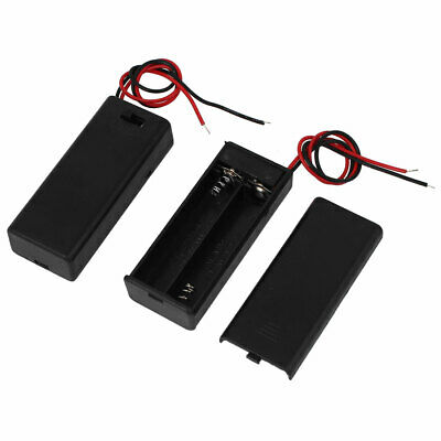 2 x 1.5V AAA Battery Holder Enclosed Case Box On-Off Switch 170mm Leads 2 Pcs
