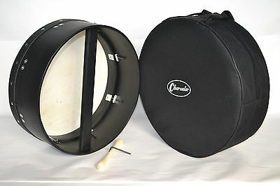 CLEARWATER BODHRAN 16 inch TUNEABLE 6 inch DEEP RIM IRISH DRUM IN BLACK + GIG BA