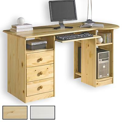 schreibtisch computertisch pc schreibtisch kiefer massiv mit 3 schubladen eur 145 95. Black Bedroom Furniture Sets. Home Design Ideas
