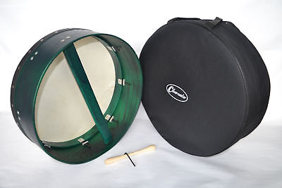 CLEARWATER BODHRAN 18 inch TUNEABLE 6 inch DEEP RIM WITH GIG BAG IN GREEN
