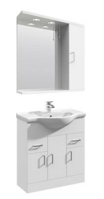750mm High Gloss White Bathroom Vanity Basin Sink Cupboard Wall Mirror Cabinet