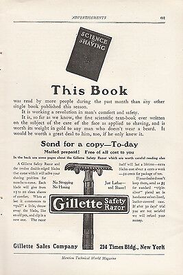 1907 Gillette Sales Co New York NY Ad: Gillette Safety Razor Science of Shaving