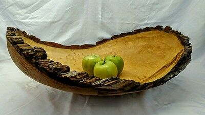 Huge handmade natural edge maple bowl w hand hewn finish
