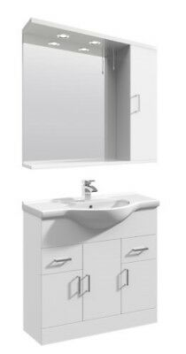 850mm High Gloss White Bathroom Vanity Basin Sink Cupboard Wall Mirror Cabinet
