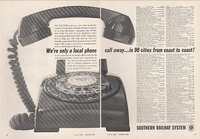 1960 Southern Railway Ad: We're Only a Local Phone Call Away in 90 Cities