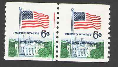 US. 1338A. 6c. Flag & White House Coil Pair of 2. Color VARIETY. MNH. 1969