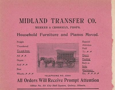 1901 Midland Transfer Co Quincy IL Ad: Household Furniture & Pianos Moved