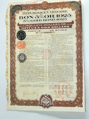 Republic Chinoise 5% Gold Bond 1925 Fifty Dollars USA Gold Dollars China 1925