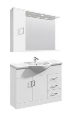 1050mm High Gloss White Bathroom Vanity Basin Sink Cupboard Wall Mirror Cabinet