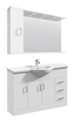 1200mm High Gloss White Bathroom Vanity Basin Sink Cupboard Wall Mirror Cabinet