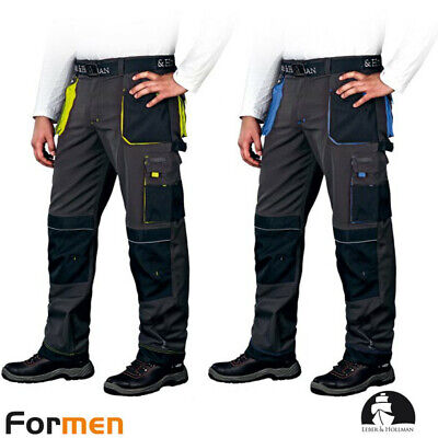 Work Trousers Safety Protection Black Yellow Blue Leber & Hollman