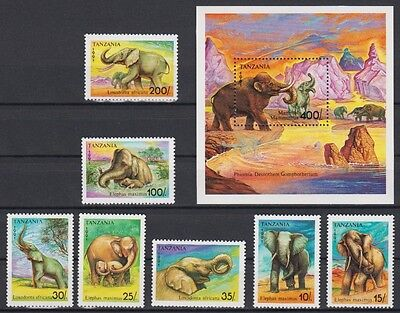 Elephant Wild Animals Tanzania MNH S/S+7 stamps 1991