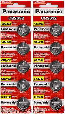 10 Fresh Genuine Panasonic CR2032 ECR2032 3V Coin Button Batteries