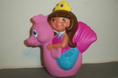 MINI Bath Toy DORA the EXPLORER on PINK Seahorse Raft RUBBER FREE SHIP PRINCESS