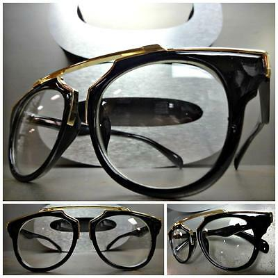New CLASSIC VINTAGE RETRO Style Clear Lens EYE GLASSES Unique Black & Gold Frame