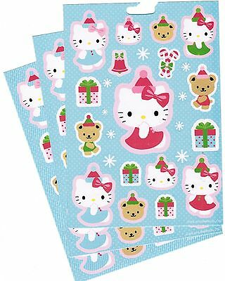 SANRIO Hello Kitty Christmas XMAS Hat Winter Snow Stickers 3 Sheets! BLUE!