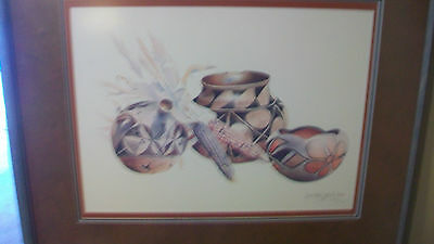 NAVAJO POTS & CORN by SECUNDINO SANDOVAL, SIGNED FRAMED & MATTED PRINT