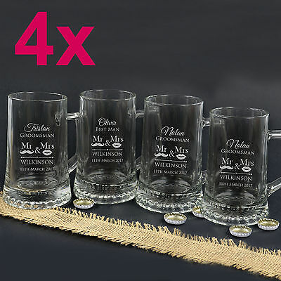 4x Personalised Favours Engraved Beer Mugs for Groomsmen - Father of the Bride