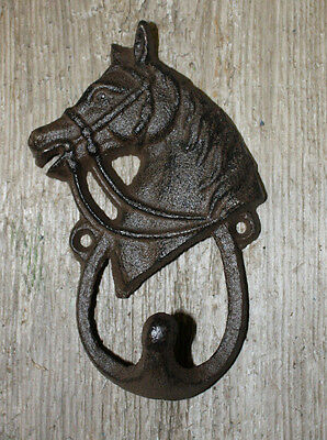 Cast Iron HORSE HEAD Coat Hooks Hat Hook Towel Rack Western Cowboy Decor