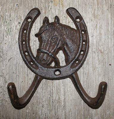 Cast Iron Rustic Ranch HORSE HEAD 2 HOOK Coat Hooks Rack Towel HorseShoe