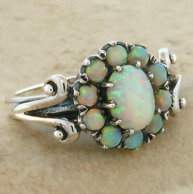 White Lab Opal Antique Victorian Design 925 Sterling Silver Ring Size 8.75, #464
