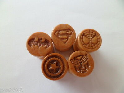 Wooden Superhero Plug Earring Stud Stretcher Fake Choice Of Design Free P&P
