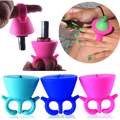 Nail Art Repose Porte Bouteille Vernis Ongle Silicone Bague Doigt Polish Holder