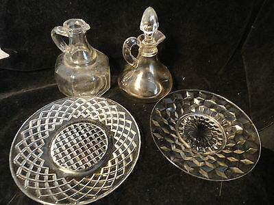 5 Crystal Depression Glass Pieces Syrup Cruet With Stopper Saucers