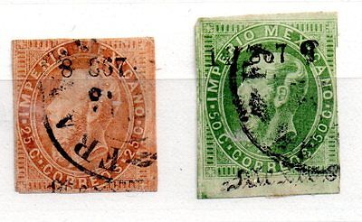Mexico 1866 Maxi 25c and 50c overprinted used pair WS490