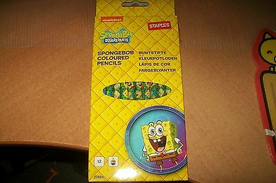 12 Spongebob Coloured Pencils New   New New