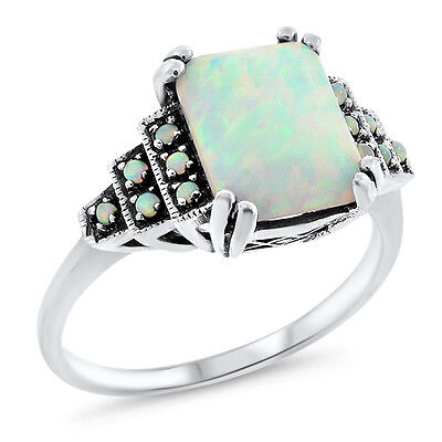 White Lab Opal Antique Art Deco Style 925 Sterling Silver Ring Sz 9,#648