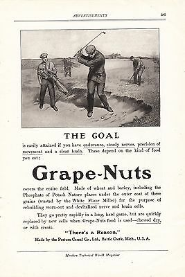 1907 Postum Cereal Battle Creek MI Ad: Grape-Nuts Golfer Hitting Out of Sandtrap