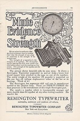 1907 Remington Typewriter Co New York NY Ad: Mute Evidence of Strength